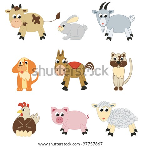 Set of farm animals on white background(vector) - stock vector