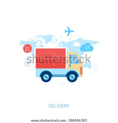 Set of flat design concept icons for online shopping and purchase delivery. Lorry or truck over world map. - stock vector