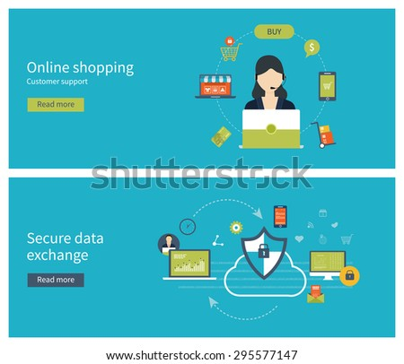 Set of flat design vector illustration concepts for data protection, online shopping, data encryption and secure data exchange. Mobile marketing and online store concept flat icons. - stock vector