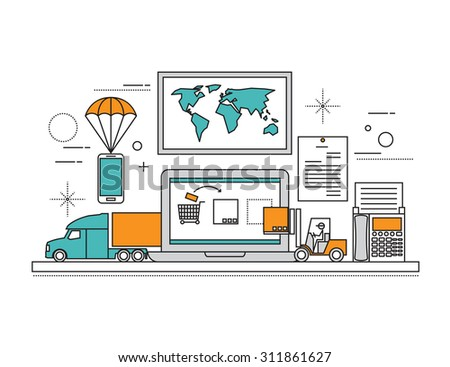 Set of Flat line icon & infographic design concept,mobile story. Symbols of online shop, online payment, customer service and delivery - stock vector