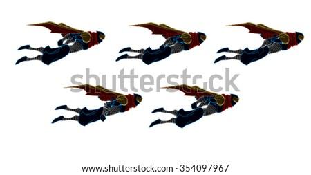 5 Set of Flying Ninja Samurai with Red, Yellow and Blue Cartoon Vector - stock vector