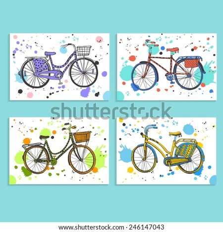 Set of four stylish hand drawn city bike on white background with colorful spots. - stock vector