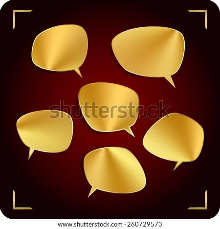 Set of golden speech bubbles - stock vector