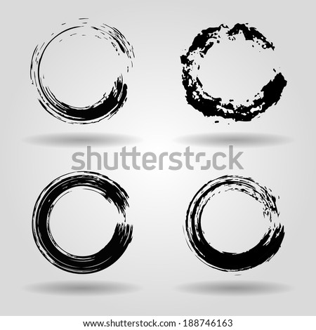 set of grunge circle brush strokes for frames, icons, design elements - stock vector