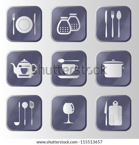 Set of hitech metal kitchen icon. Eps 10 vector button. - stock vector
