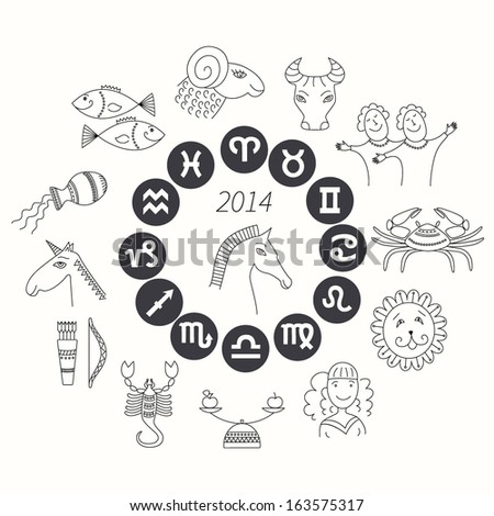 Set of horoscope symbols.  Zodiac signs on white background. Horoscope for 2014. - stock vector