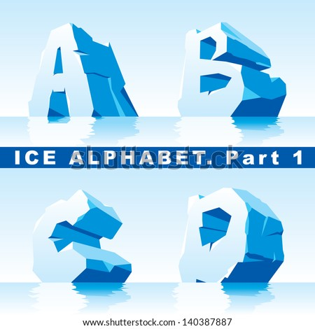 set of ice letters.  Part 1 - stock vector