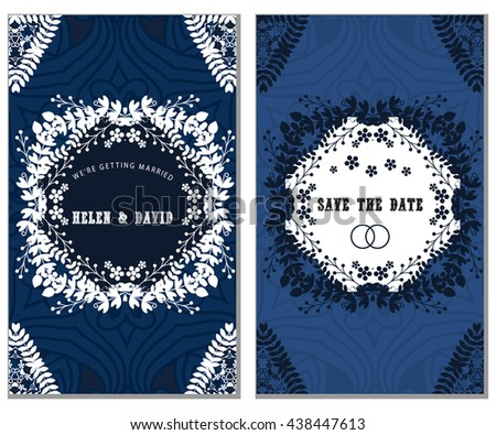Set of Luxury artistic pages set with logo brochure template. Vintage art identity; lace; card; magazine.; Decorative retro greeting card or invitation design - stock vector