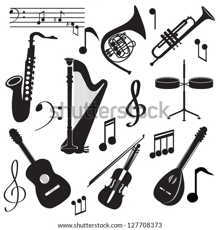 Set of music instruments. Music Icons - stock vector