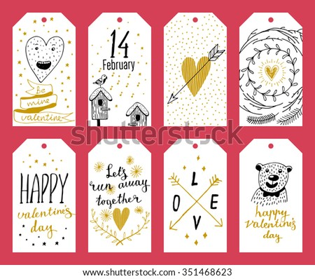 Set of 8 printable hand drawn holiday label in black white and gold. Valentine's Day - stock vector