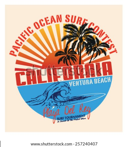 Set of Summer   Surfing Design   Tropical vector set  Hand drawing silhouette   T-shirt Printing   Badge Applique Label  - stock vector