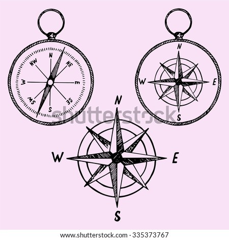 set of the compass, doodle style, sketch illustration, hand drawn, vector - stock vector
