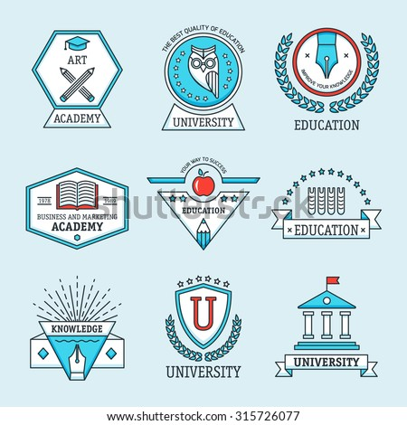 Set of university and college school crests and logo emblems, symbols, icons and badges template. Modern vector pictogram collection concept.  - stock vector