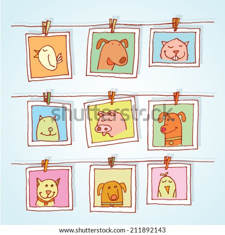 Set picture frames with animals portrait, hand drawn vector illustration. - stock vector