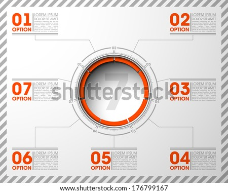 7 seven components make up something. Modern business circle origami style options banner.  infographics vector, workflow layout, diagram, number options, step up, web design load speaker dynamic - stock vector