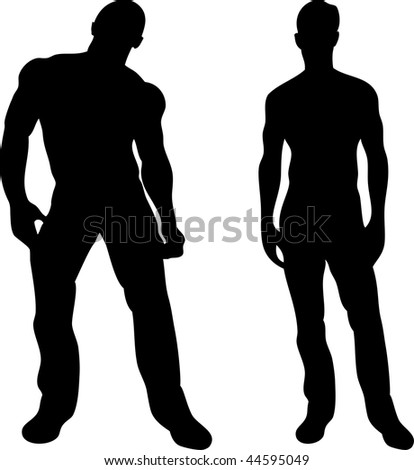 2 sexy men silhouettes on white background. Editable Vector Image - stock vector
