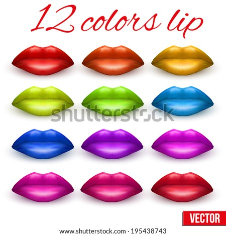 12 shades of beautiful luscious multicolor lips. Red, blue, green, orange. Vector Illustration. - stock vector