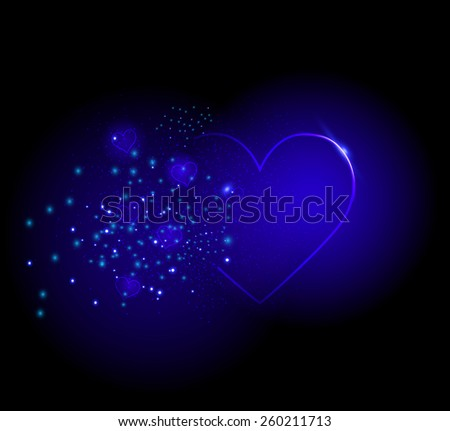 Shiny  blue hearts on black background, night blue sparkle, big and small inside,vector - stock vector