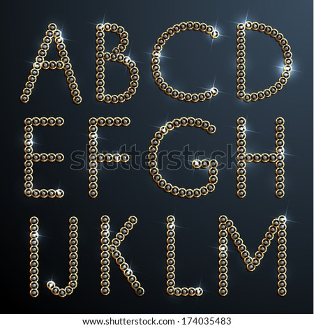 Shiny diamond and gold alphabet letters - eps10 - stock vector
