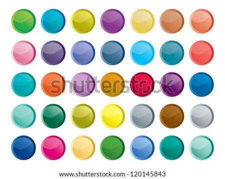 35 Shiny Web Buttons. - stock vector