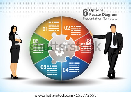 6 sided business wheel chart design template for presentation purposes - stock vector