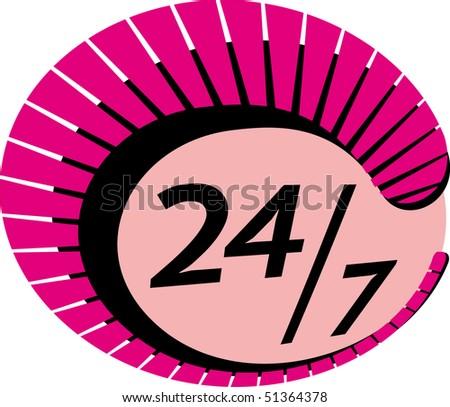 24/7 Sign vector - stock vector