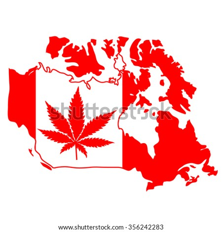 sign with marijuana leaf on Canada map - stock vector