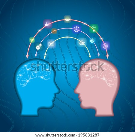 silhouette of a human head with an interface icons.social network, communication in the global computer networks. - stock vector