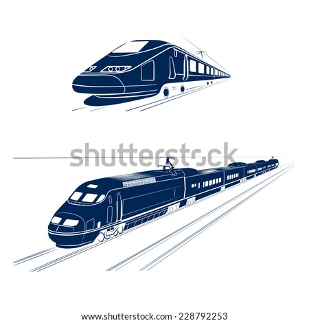 silhouette of the high-speed passenger train - stock vector