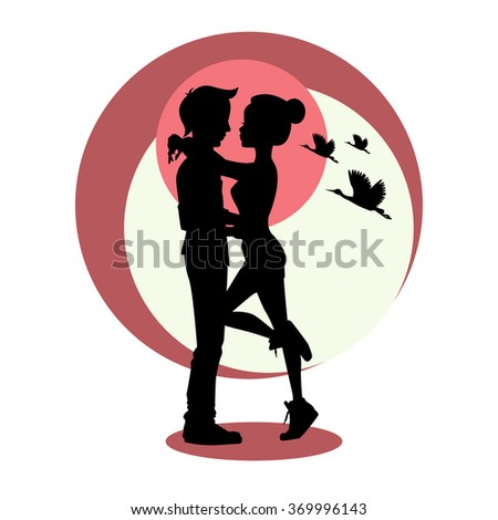 Silhouette of young couple in love. Vector - stock vector