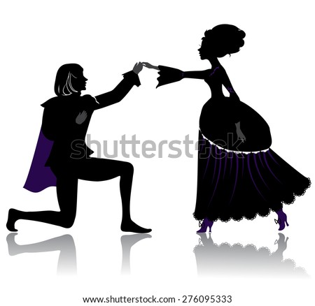 Silhouette of young royal romantic couple, dancing on ball - stock vector