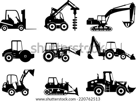 Silhouette set of heavy equipment and machinery - stock vector