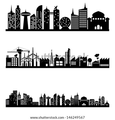 silhouettes of building and city, vector format - stock vector