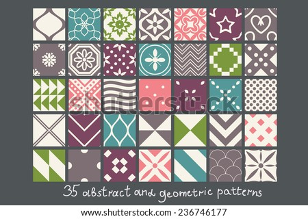 35 simple abstract patterns set - stock vector