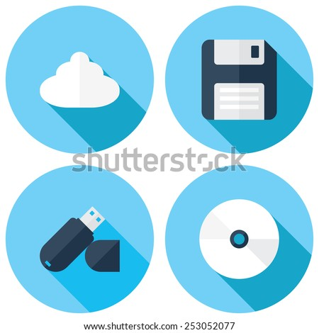 Simple set of flash drive and cloud storage related vector icons for your Web design and Mobile Application. EPS 10. - stock vector