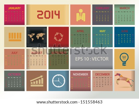 2014 simple vector calendar with colorful square box and business icon.,vector eps10 - stock vector