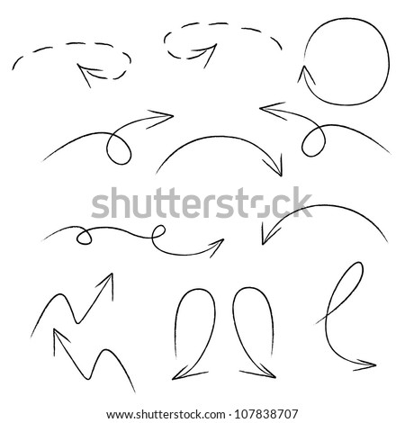 sketch arrow set - stock vector