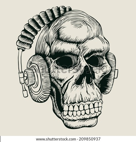 skull in headphones. drawing style. vector illustration  - stock vector