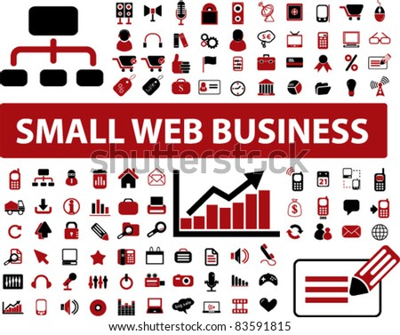 100 small web business icons, signs, vector illustrations - stock vector