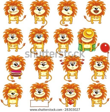 16 smiley lions individually grouped for easy copy-n-paste.(1) - stock vector