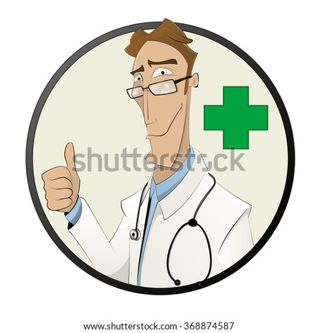 Smiling cartoon male doctor in white coat show finger up. Health care, profession, people,and medicine concept. Vector  Illustration - stock vector