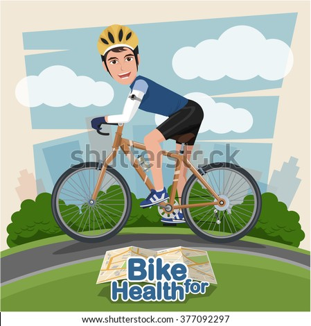 Smiling cartoon man riding on a bike with Park Background . sport and exercise - stock vector