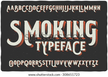 """Smoking"" vintage gothic old style typeface on dark background - stock vector"