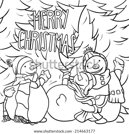 Snowman Playing In The Snow - Christmas Illustration For Children Coloring Book Design, Vector Outline Cartoon, Traditional Winter Theme. - stock vector