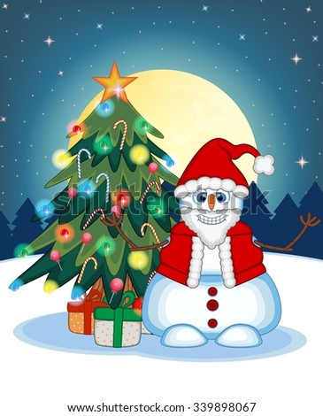 Snowman Wearing A Santa Claus Costume Waving His Hand With Christmas Tree  And Full Moon At Night Background For Your Design Vector Illustration - stock vector