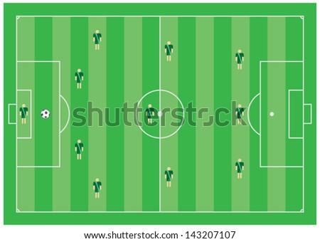 4-3-3 soccer tactical scheme - stock vector