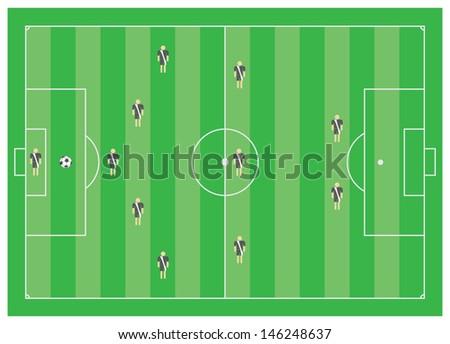 5-3-2 soccer tactical scheme - stock vector