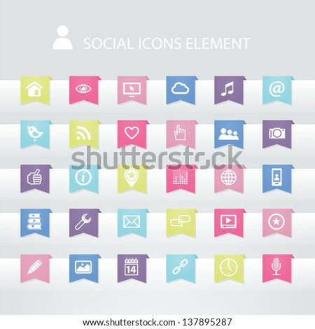30 social icons element - stock vector