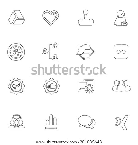 Social icons thin line drawing by hand Set 4  - stock vector
