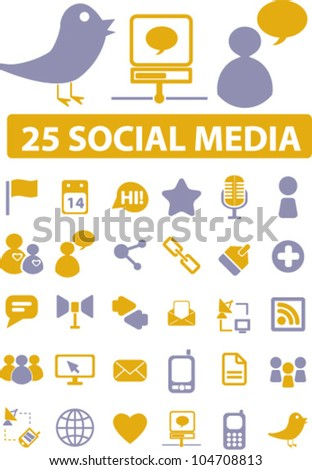 25 social media icons set, vector - stock vector
